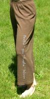 Yoga Pants on Brown, Organic Cotton, by Green 3 Apparel