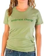 "Organic Cotton Tee, ""Embrace Change"", Green"