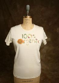 "Organic Cotton Tee, ""100% Organic"", Natural"