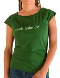 "Organic Bamboo Tee, ""Seek Balance"", Kelly Green"