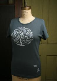 Tree Circle, Yoga Organic Cotton Tee, Short and Long Sleeve, Cement by Green 3 Apparel