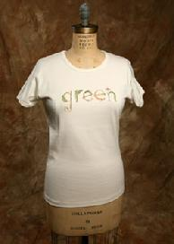"Organic Cotton Tee, ""Green Pea"", Natural and Green"