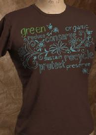 "Organic Cotton Tee, ""Green Words"", Chocolate"