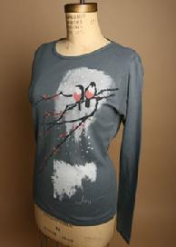 Joy Birds, Super Soft, Organic Long Sleeve Tee, Color Cement, Organic Tees Sale