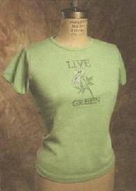 "Organic Cotton Tee, ""Live Green"", Green"