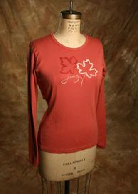 "Organic Cotton Tee, ""Thankful Leaves"", Red clay"