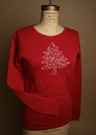 Word Tree, Super Soft, Organic Long Sleeve Tee, Color Heather Green, Holiday Organic Clothing Sale