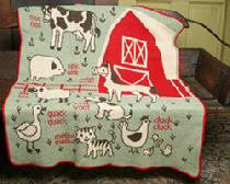 "Recycled 7 Barn Animals Throw, Blend of Cotton and Acrylic, ""7A"" Throw from Green 3 Apparel"