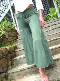 Tiered Gaucho Pants, Organic Cotton/Soy/Spandex, Assorted Colors by Tdama