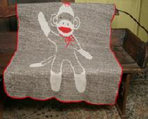 Recycled PreWashed Extra Soft Throw, Blend of Cotton and Acrylic, Sock Monkey Throw from Green 3 Apparel