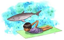 a shark pose from the book of ABCs of Yoga for Kids by Teresa Anne Power