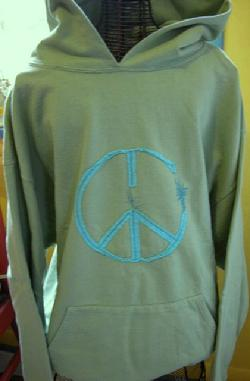Organic Cotton Peace Hooded Sweater Made in USA by Green 3 Apparel