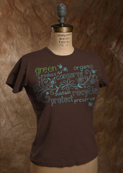 "Organic Cotton Tee, ""Green Words"""