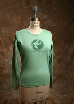 "Organic Cotton Tee, ""Peace on Earth Dove"""