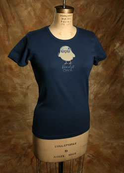 "Organic Tee ""Peaceful Chick"", Navy"