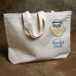 """Peaceful Chick"" Organic Cotton Tote"