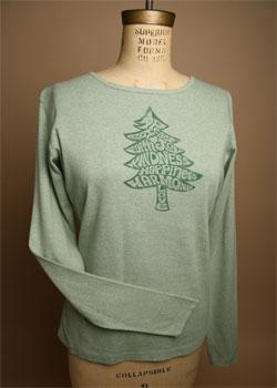 "Organic Cotton Tee, ""Word Tree"", Holiday Apparel"