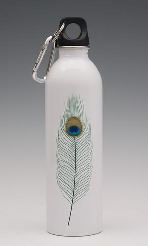 Peacock feather on white - water bottle from EarthLust