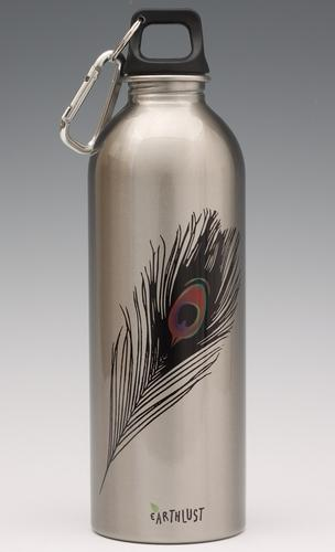 Peacock feather on silver - water bottle from EarthLust