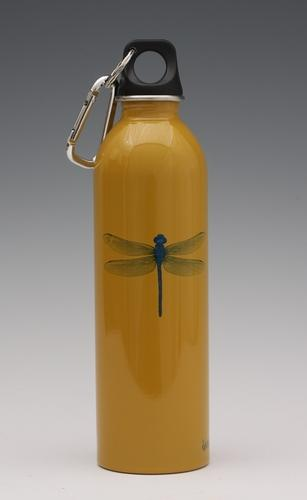 Dragonfly on mustard - water bottle from EarthLust
