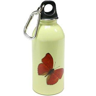 Red Buttlerfly on Cream - water bottle from EarthLust