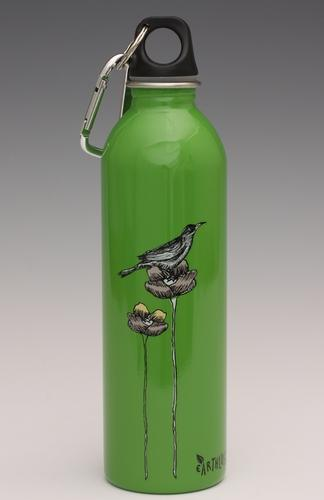 Bird and Flower on green - water bottle from EarthLust